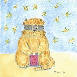 """""""Cat burglar"""" Cute cat  Greetings card"""
