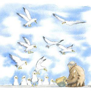 Feeding the birds Original watercolour painting