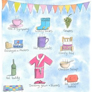 """""""Get well"""" Illustrated card, hot toddy and bed socks"""