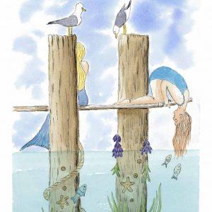 """""""Mermaid at Hastings East Sussex """" Greetings card"""