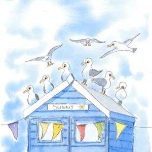 Sunny beach hut and seagull A4 Print