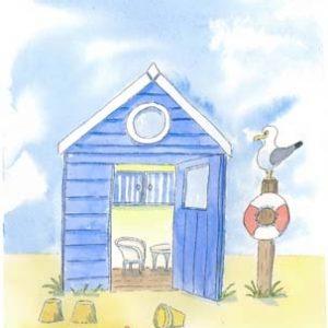 Beach Hut Lloyd loom A4 print