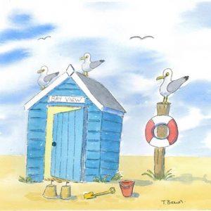 Pevensey Bay East Sessex Beach Hut. A4 Print