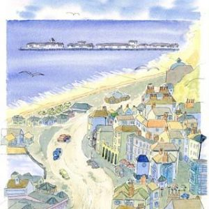 """Hastings Old Town coaster """"Blue View"""" circular."""