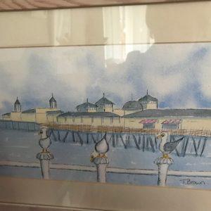 Original watercolour Hastings promenade.