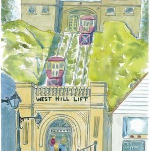 """""""West Hill Lift Hastings Old Town"""" Coaster circular."""