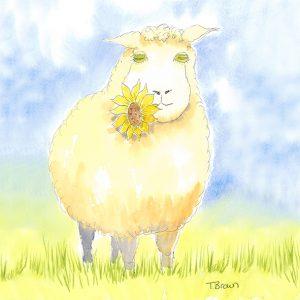 """Susan the Sheep"" Square farmyard drinks coaster"