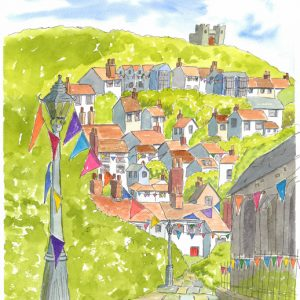 """Hasting Old Town fridge magnet """"Spring View in Church Passage"""