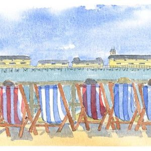 """""""Hastings Pier and Deckchairs"""" A4 Print"""