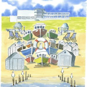 """""""Eclectic Bexhill East Sussex."""" Coaster circular."""