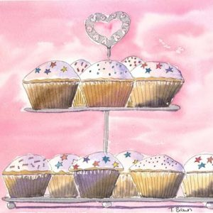 """""""Cup cake stand"""" Greetings card"""
