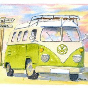 Green Camper van A4 Print