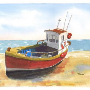 """""""Hasting Fishing boat Old Town Fish market"""" Greetings card"""