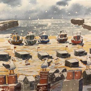 Snowy Boats In Hastings OldTown